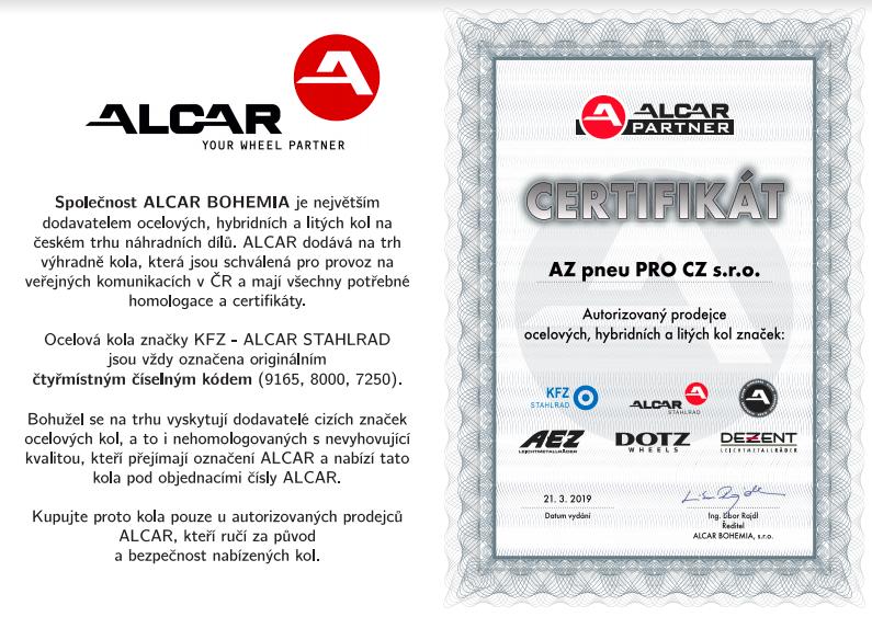 Certifikát Az pneu autorizovaný predajca kolies