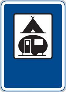 Dopravná značka Táborisko pre stany a obytné prívesy