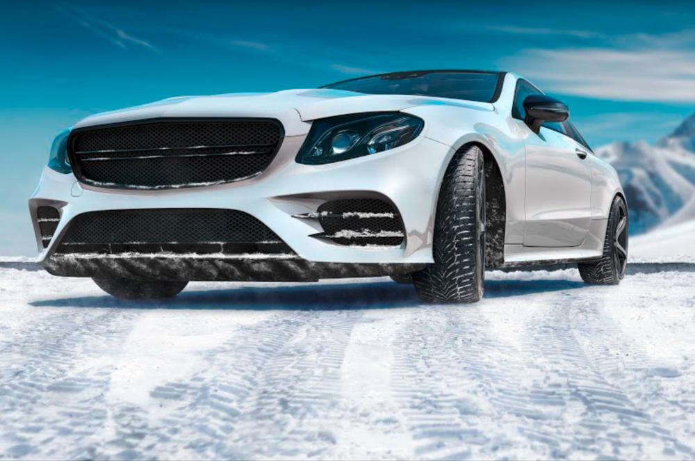 Auto s pneu Nexen na snehu